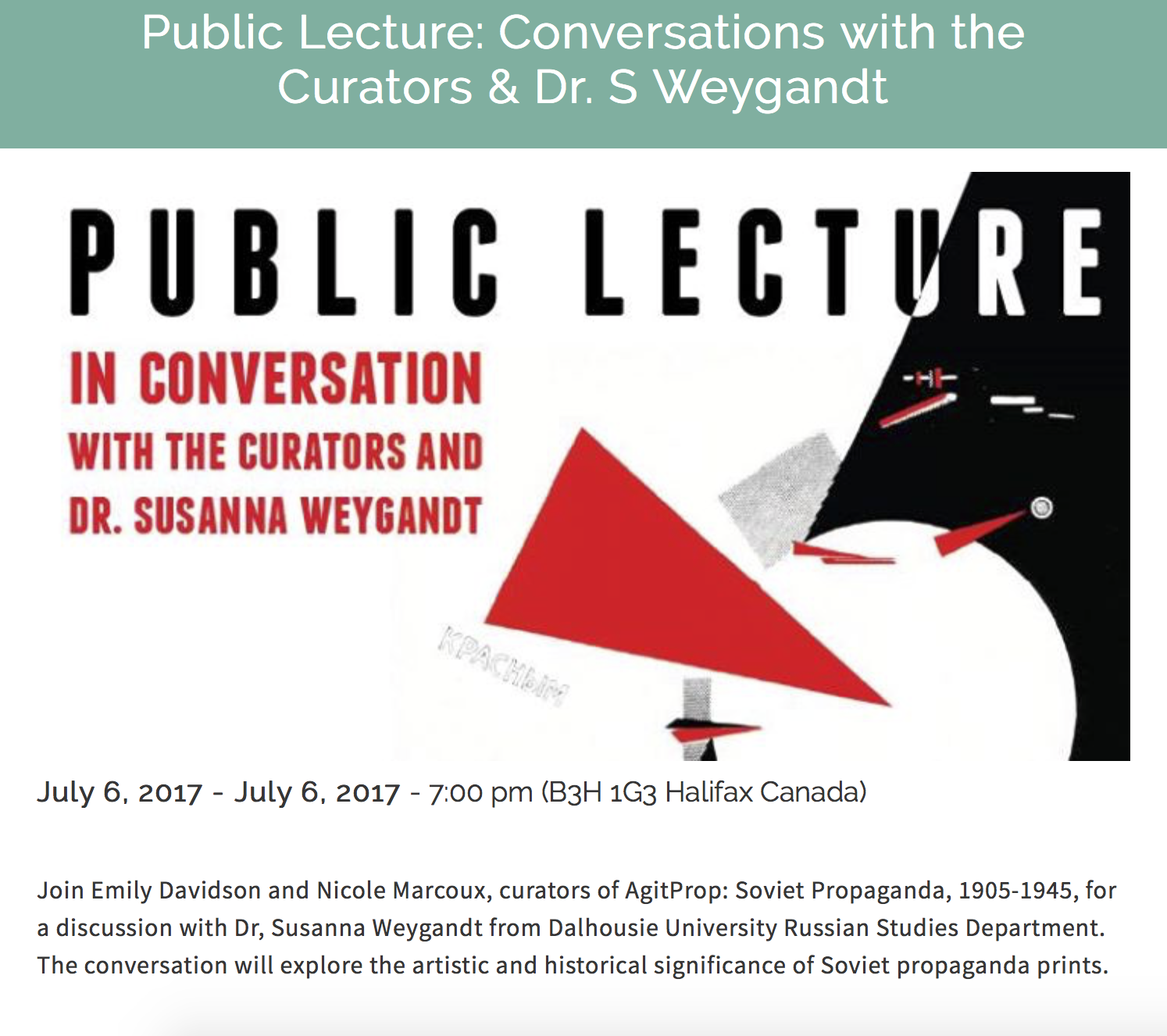 Public lecture about Soviet Print Exhibition, St Mary's Art Gallery, Nova Scotia